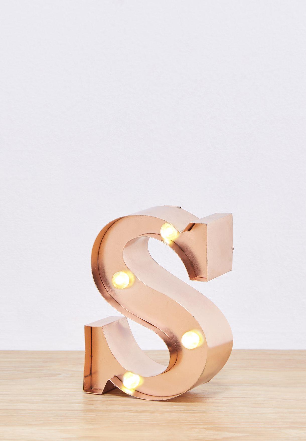 Initial S Rose Gold Mini Light