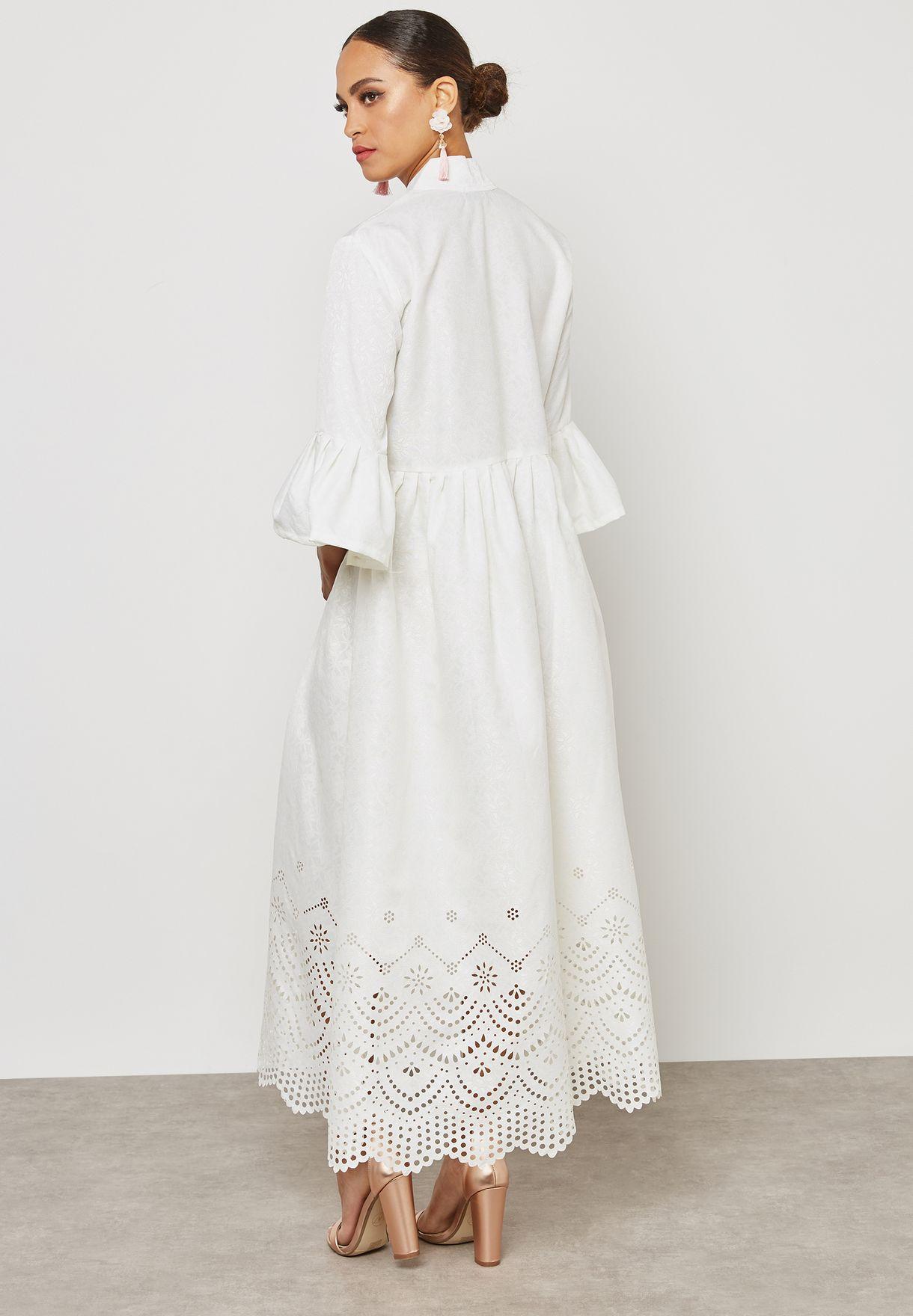 Three Quarter Ruffle Lace Dress