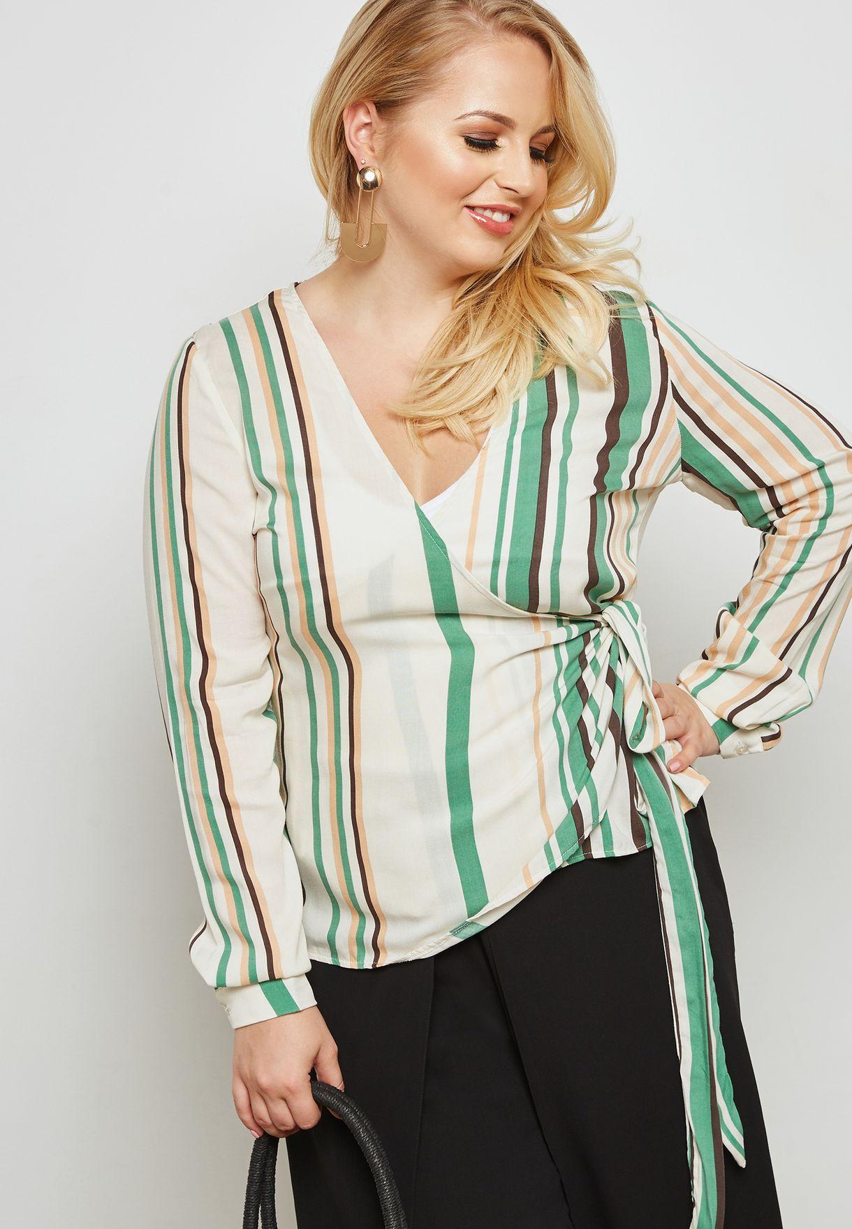 548fd818ceeae9 Shop Missguided Curve prints Striped Wrap Tie Waist Top WXV9775870 ...