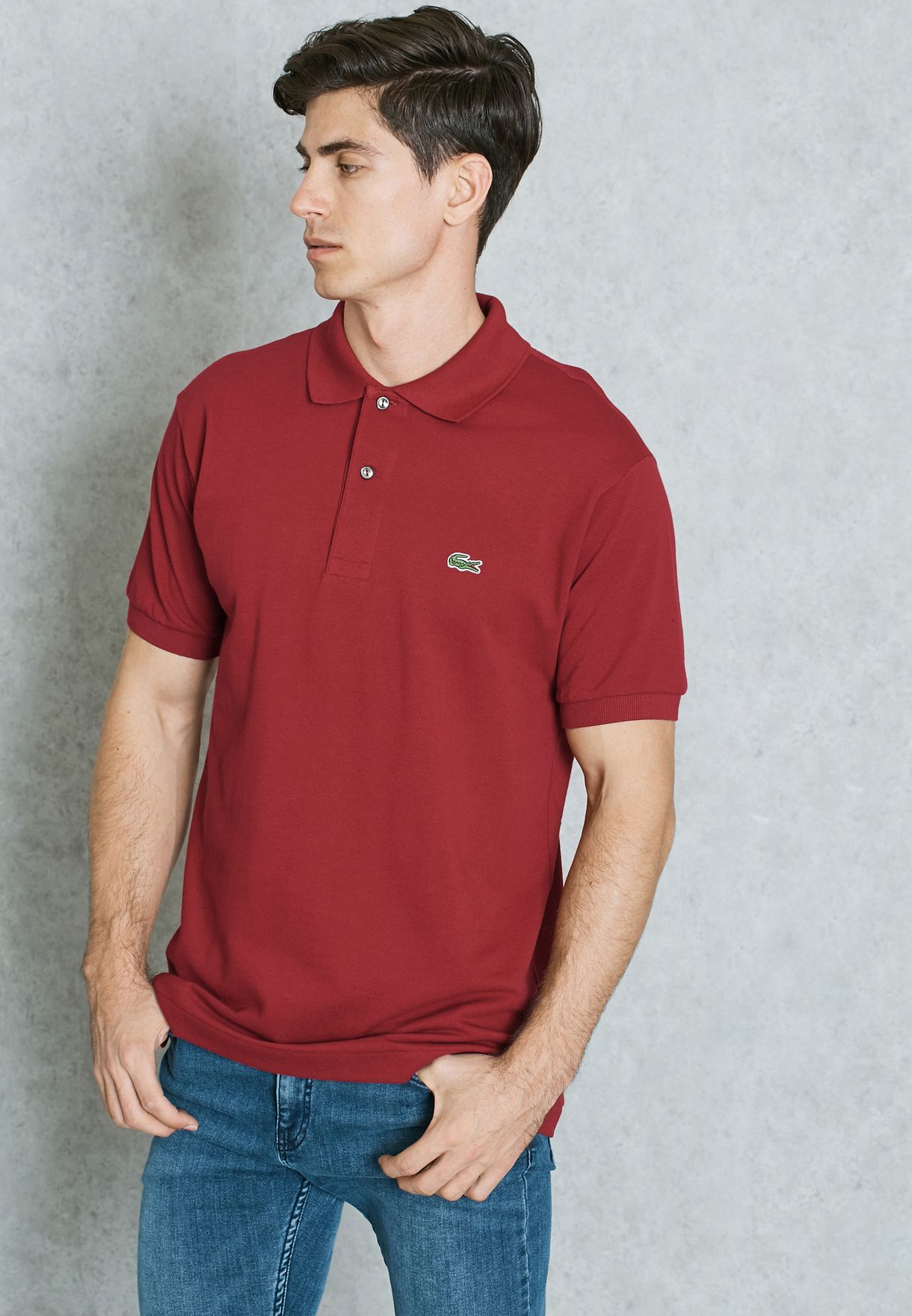 10ce1c96 Shop Lacoste red Ribbed Collar Polo L1212-476 for Men in Qatar ...
