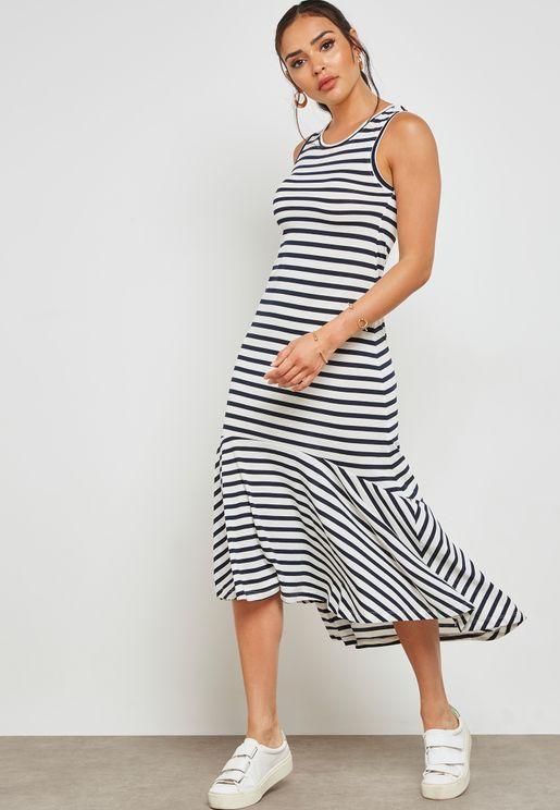 Striped Frill Dress