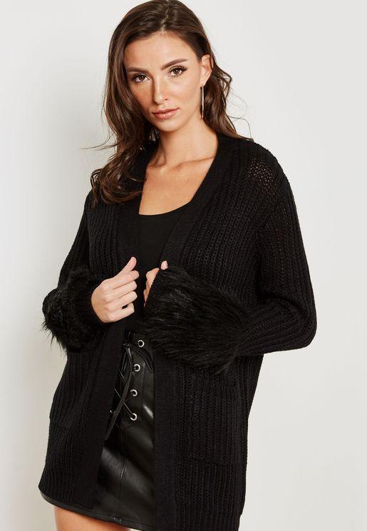 Faux Fur Cuffed Pocket Coatigan