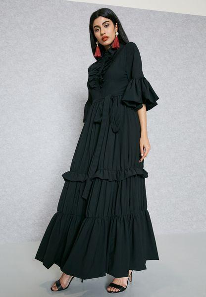 Ruffle Detail Self Tie Dress