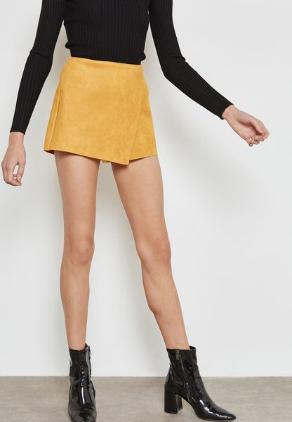 Wrap Front Mini Skirt