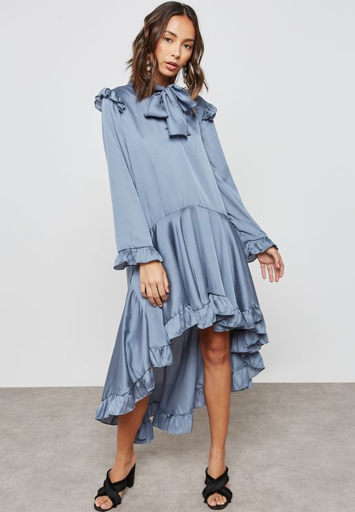 High Low Ruffle Satin Dress