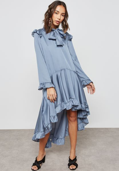 High Low Ruffle Satin Dress