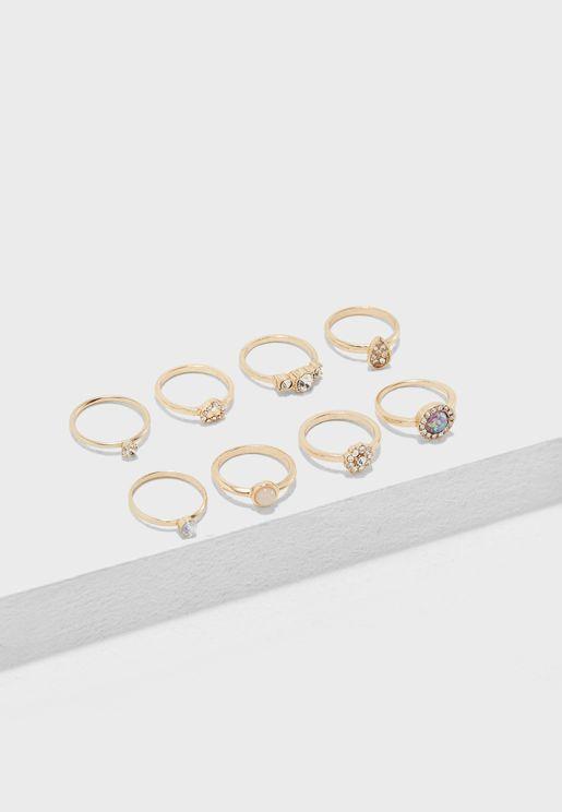 Faux Gem & Rhinestone Ring Set