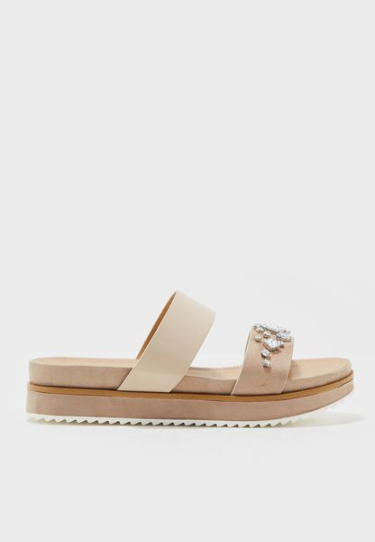 Embellished Double Band Platform Sandal