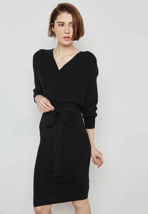Wrap Front Knitted Dress