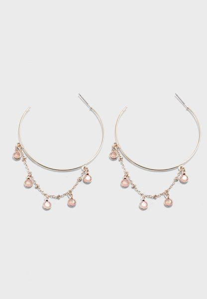 Draped Bead Hoop Earrings