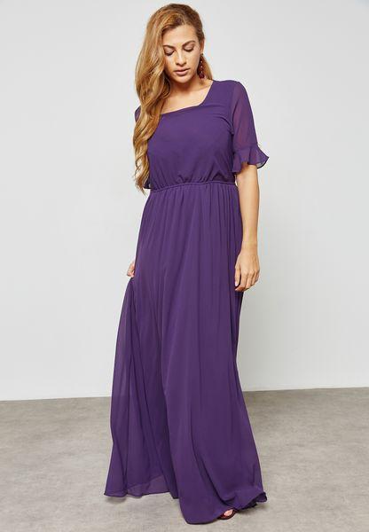 Ruffle Pearl Detail Maxi Dress