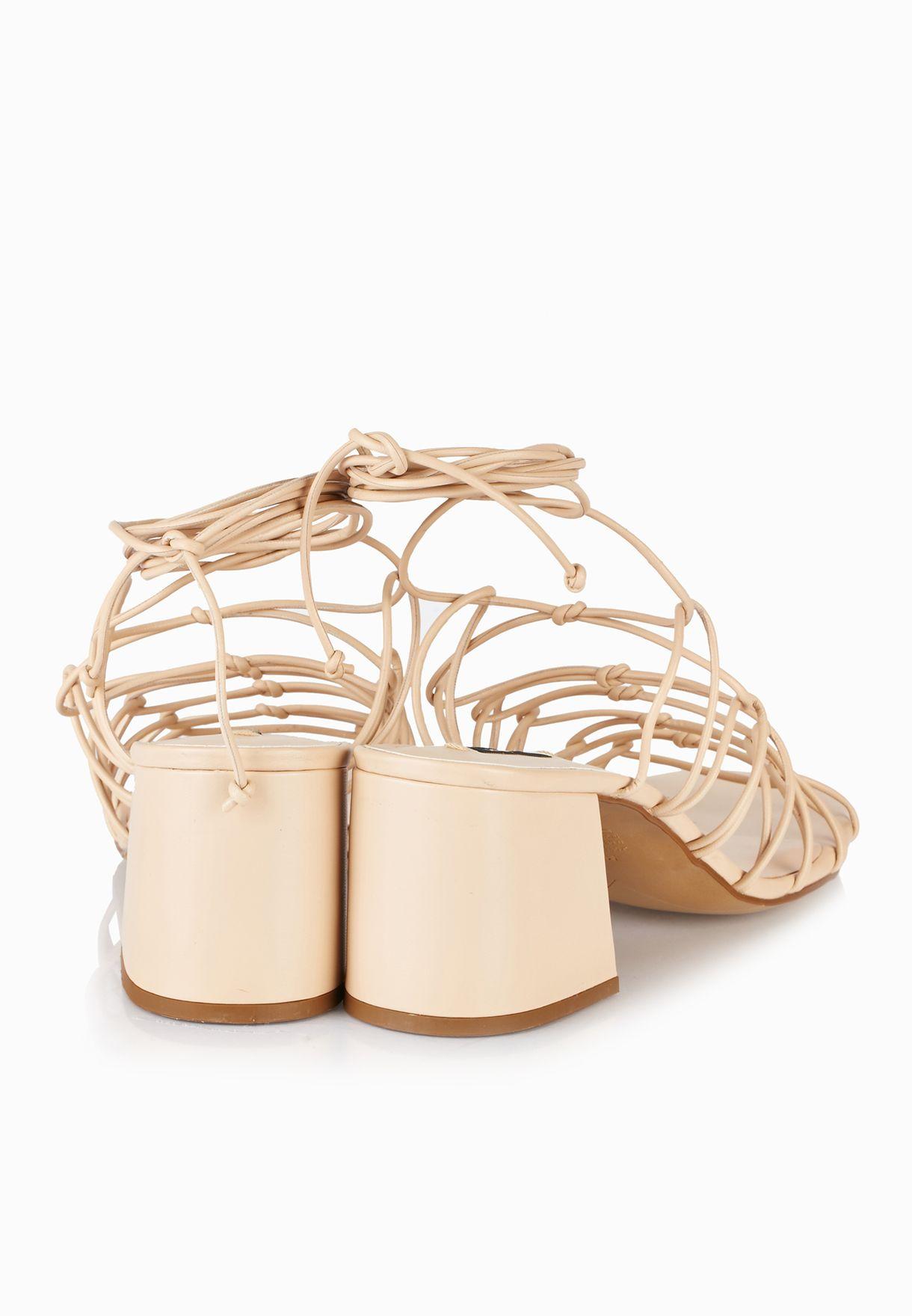 Net Lace up Ghillie Sandals