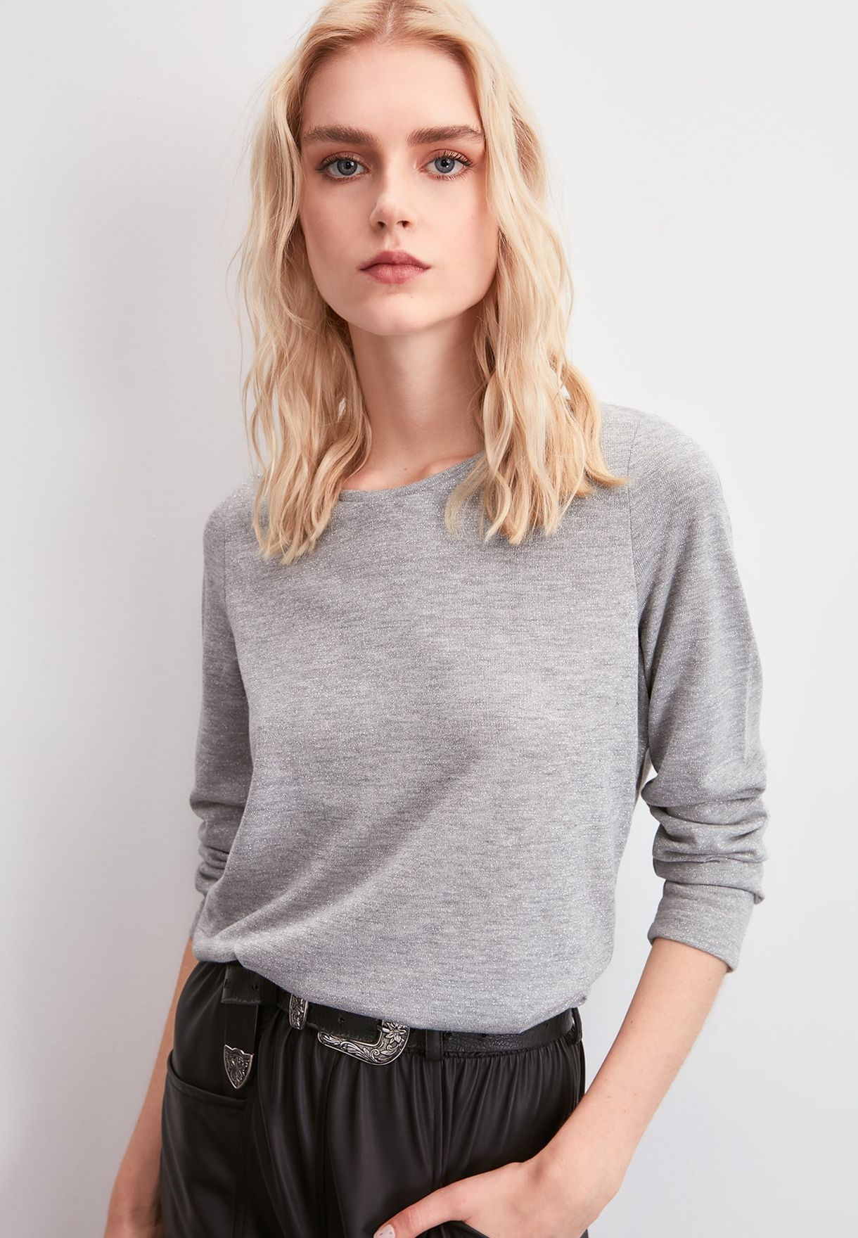 Silvery Knitted Top