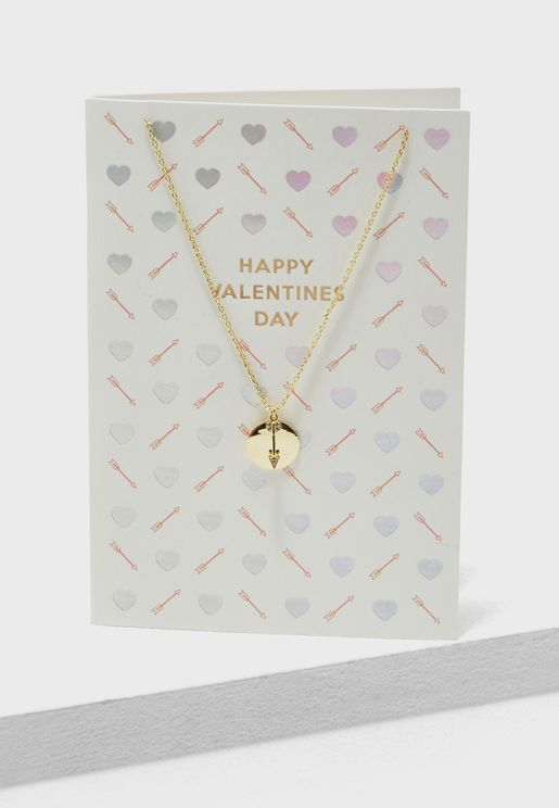 Happy Valentines Arrow Necklace Giftcard