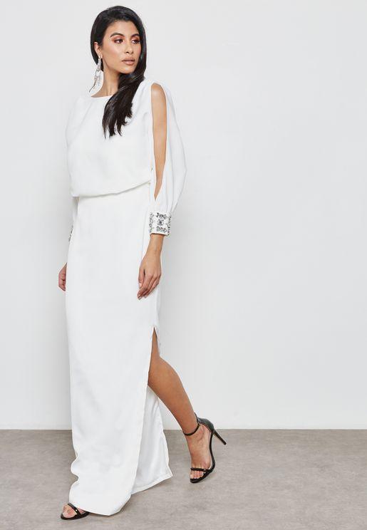 Embellished Cuffed Slit Sleeve Dress