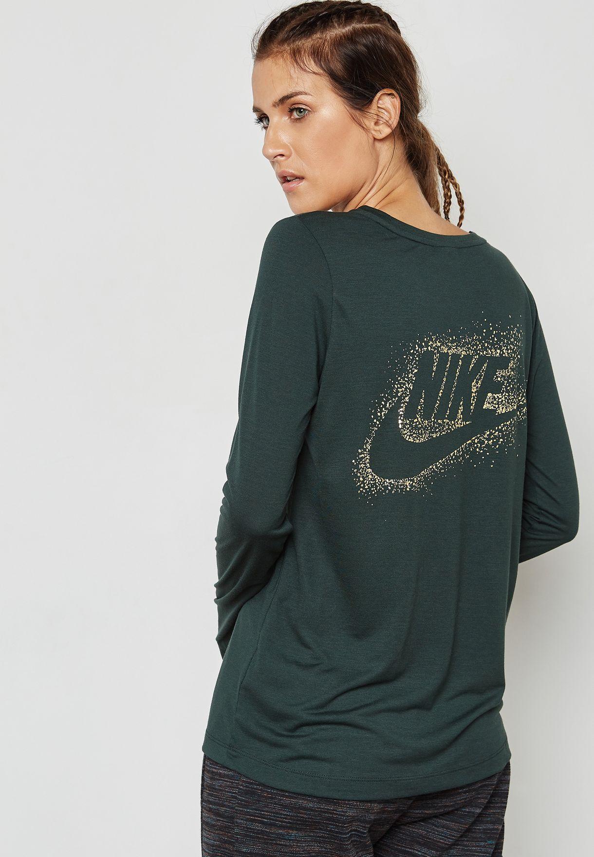 4c8c2954 Shop Nike green Essential Metallic T-Shirt 874118-332 for Women in ...