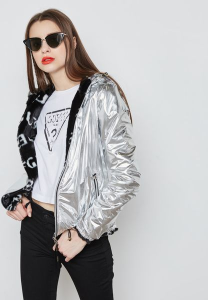 Metallic Hooded Jacket