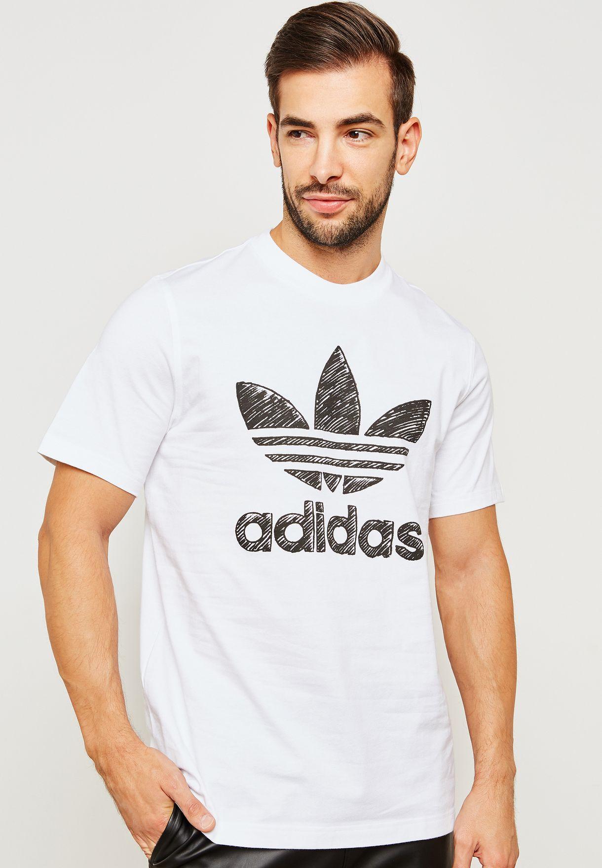 Tienda adidas Originals blanco dibujado a mano para hombres en dh4810 T1 t shirt