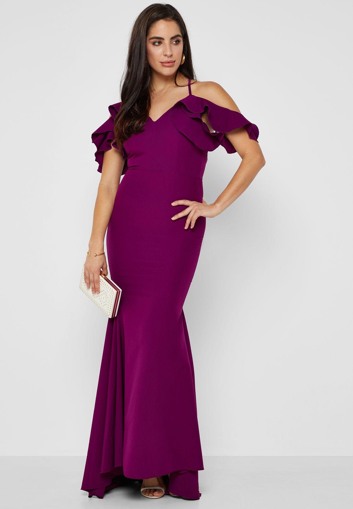 0324c6c8f0da8d Shop Ella purple Ruffle Cold Shoulder Fishtail Maxi Dress 3932 for ...