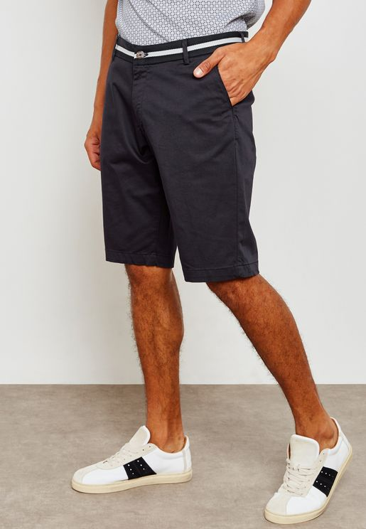 Slim Shorts with Detailed Waistband