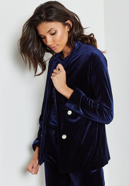 Velvet Buttoned Blazer