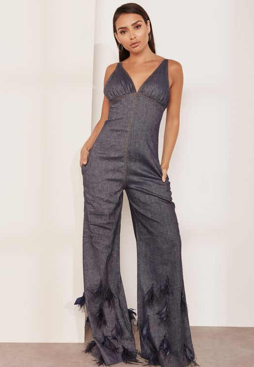 Denim Feather Detailed Flared Jumpsuit