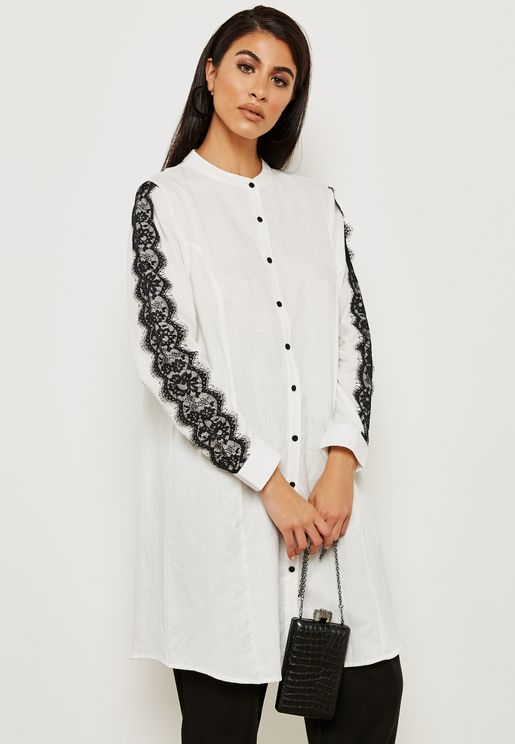 Lace Setail Sleeves Tunic