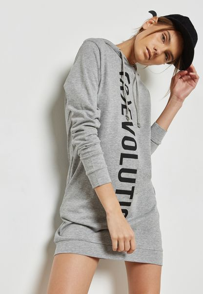 Slogan Hooded Dress