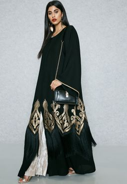 Embroidered Fringed Hem Abaya