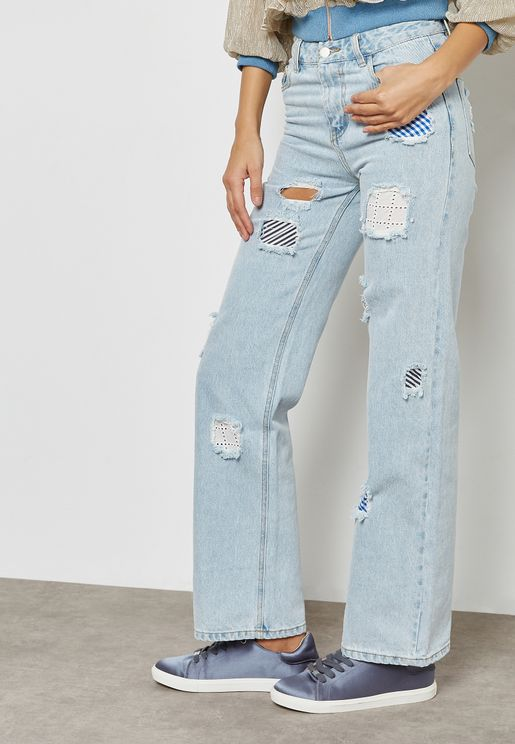 Light Wash Patch Jeans