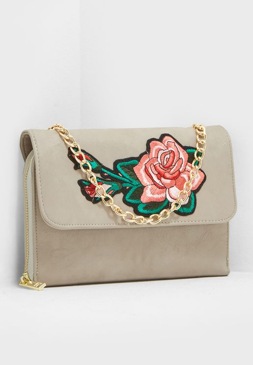 Embroidered Flap Crossbody