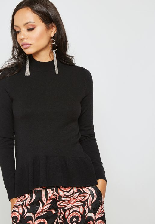 High Neck Frill Sweater