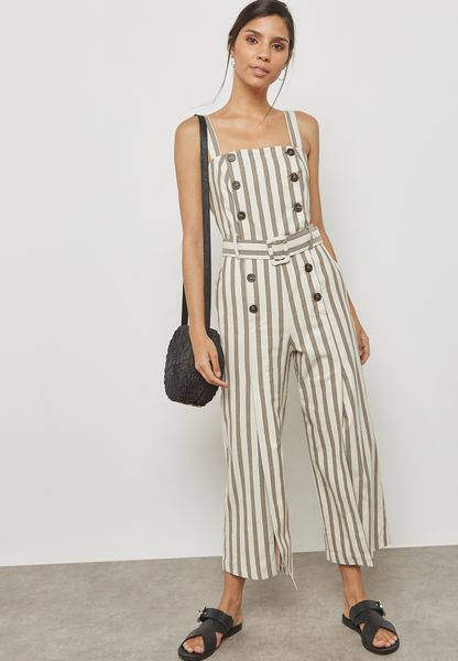 Button Detail Striped Jumpsuit