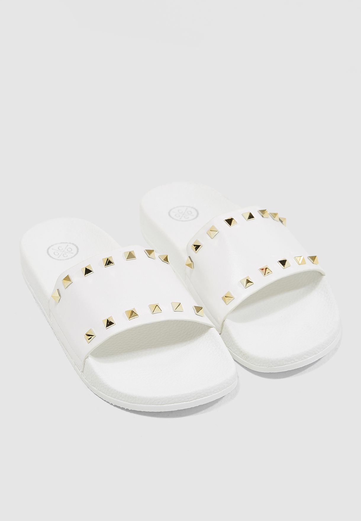 4c4180e4d Shop Coco white Amber Studded Slides 651-1 for Women in UAE ...