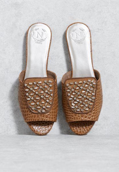 Textured Embellished Sandals