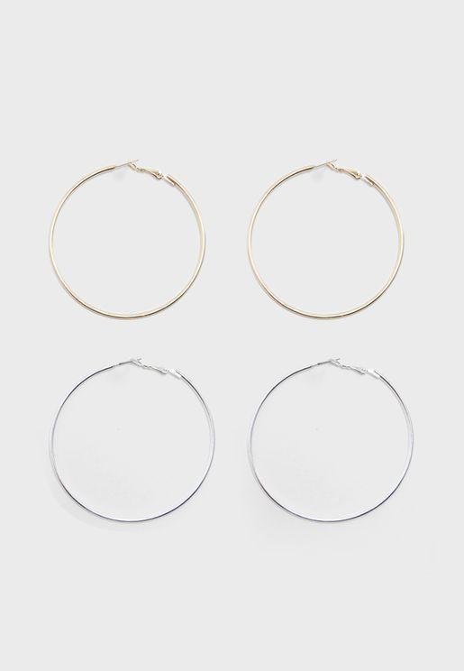 2 Pack Silver and Gold Hoop Earrings