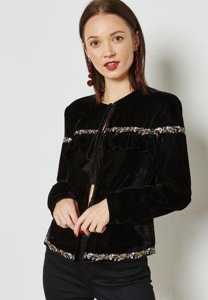 Frill Detail Velvet Jacket