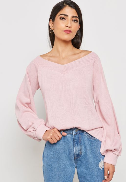 Ruched Bardot Balloon Sleeve Top