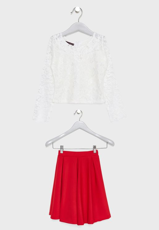 Little Lace Top + Skirt Set