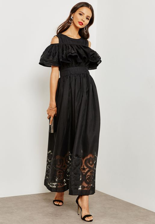 Lace Hem Ruffle Cold Shoulder Dress