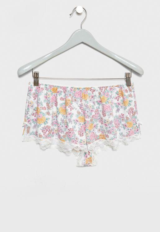 Floral Lace Detail Shorts