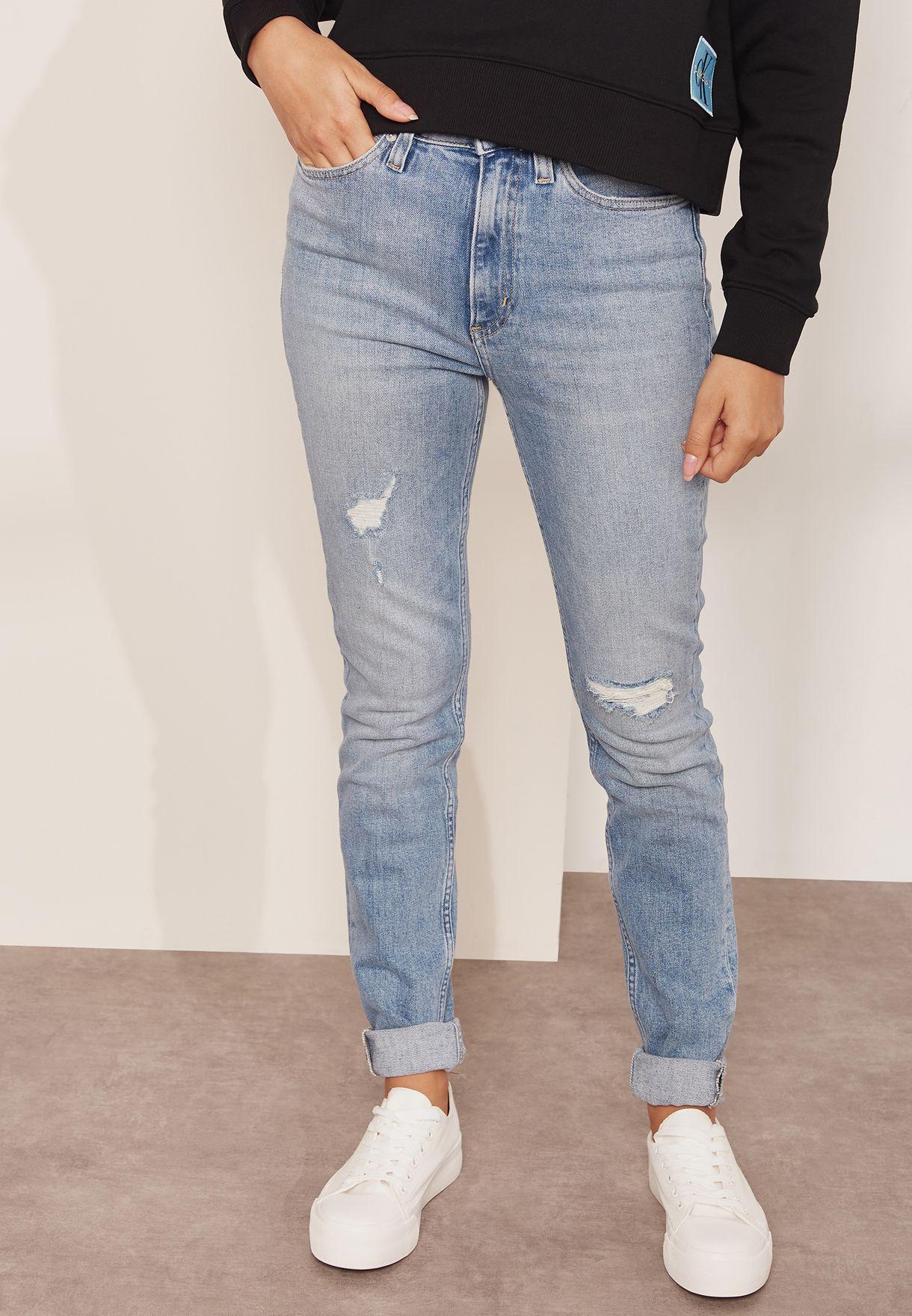 14a9c81c6d5 Shop Calvin Klein Jeans blue Ripped High Waist Skinny Jeans ...