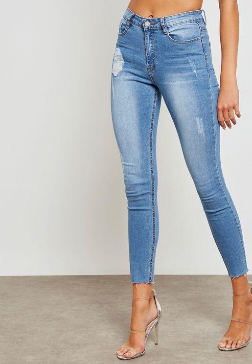 Sinner Dark Wash Skinny Ripped Jeans