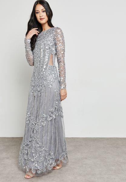 Embellished Pleated Maxi Dress