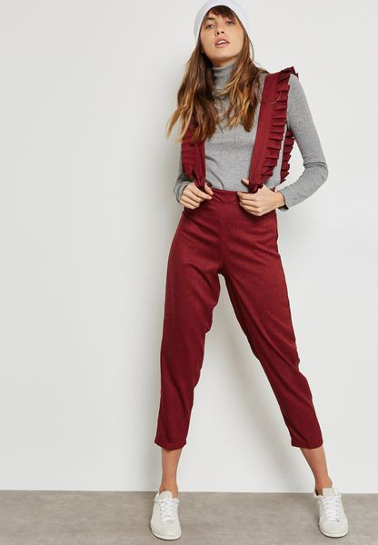 Pleated Detail Pinafore Pants