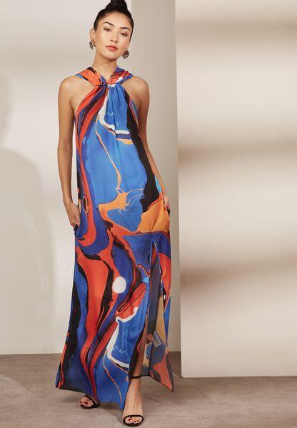 Halter Neck Front Split Printed Dress