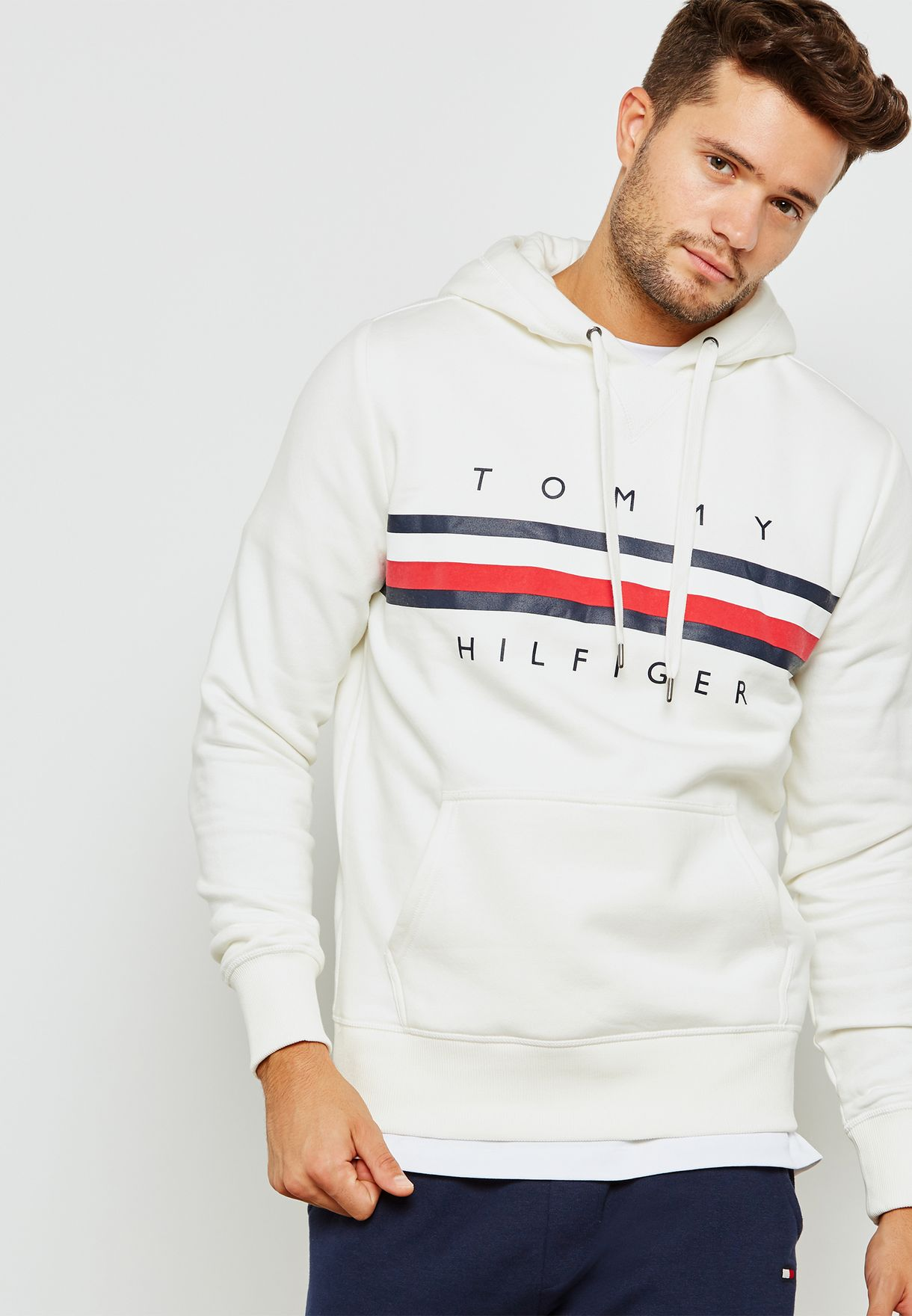 446861ba3405 Shop Tommy Hilfiger white Logo Hoodie MW0MW07947118 for Men in UAE ...