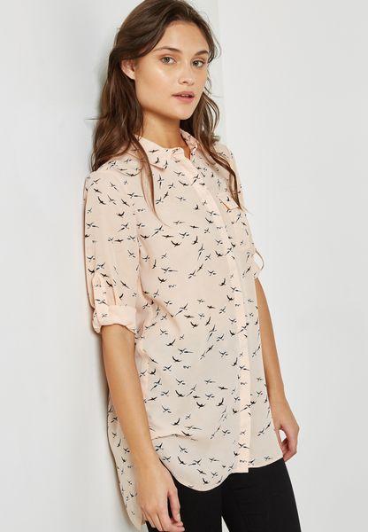 Longline Bird Print Shirt