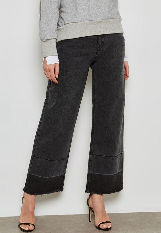 Let Down Hem Straight Jeans