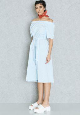 Striped Bardot Self Tie Dress